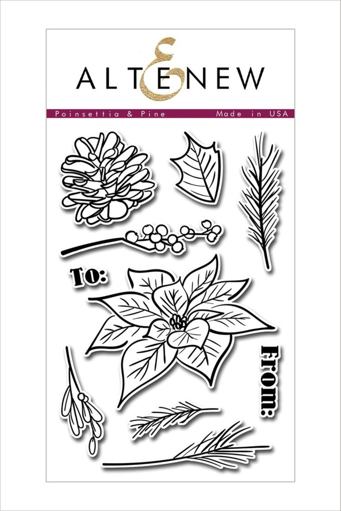 Altenew - Poinsettia & Pine Stamp Set