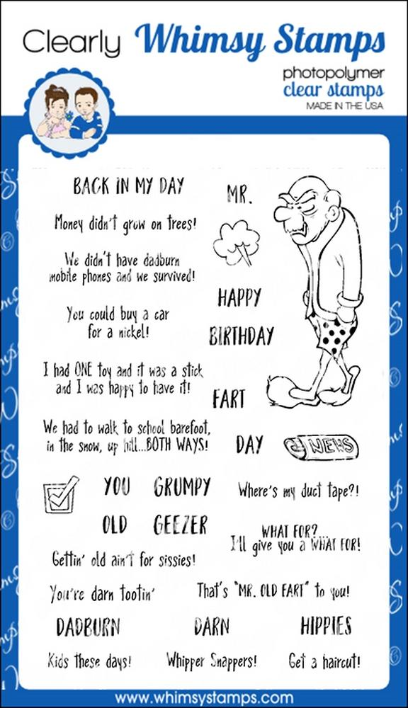 *NEW* - Whimsy Stamps - Old Geezer Clear Stamps