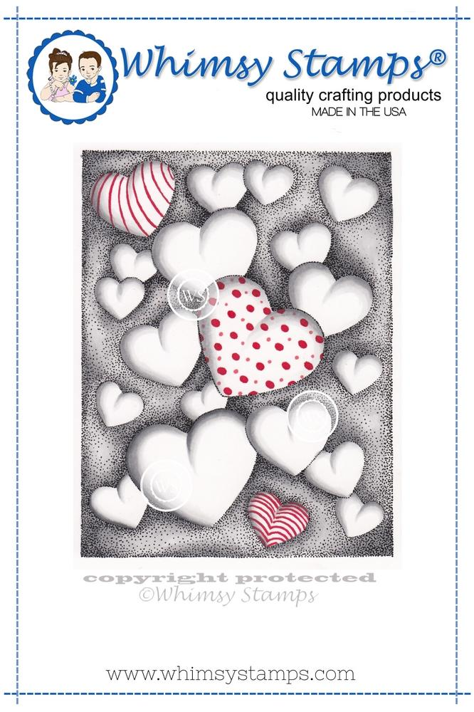 *NEW* - Whimsy Stamps - Hearts Floating Rubber Cling Stamp