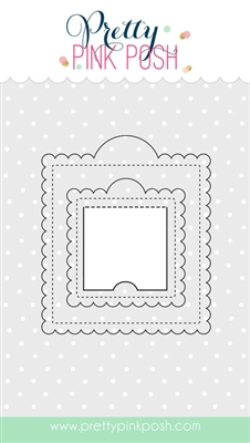 Pretty Pink Posh - Scallop Square Tags dies
