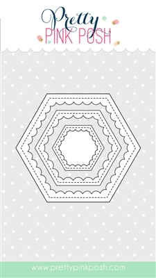 Pretty Pink Posh - Scallop Hexagons dies
