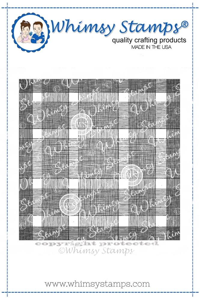 *NEW* - Whimsy Stamps - Buffalo Plaid Background Rubber Cling Stamp