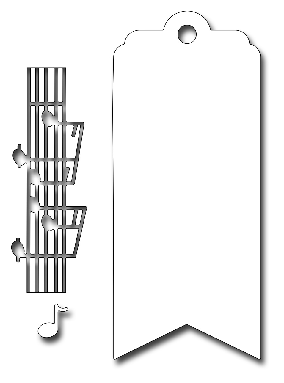 *NEW* - Frantic Stamper Precision Die - Musical Bookmark/Tag