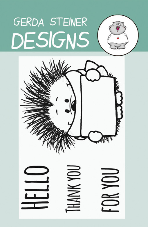 Gerda Steiner - Hedgehog with Sign 2x3 Clear Stamp Set
