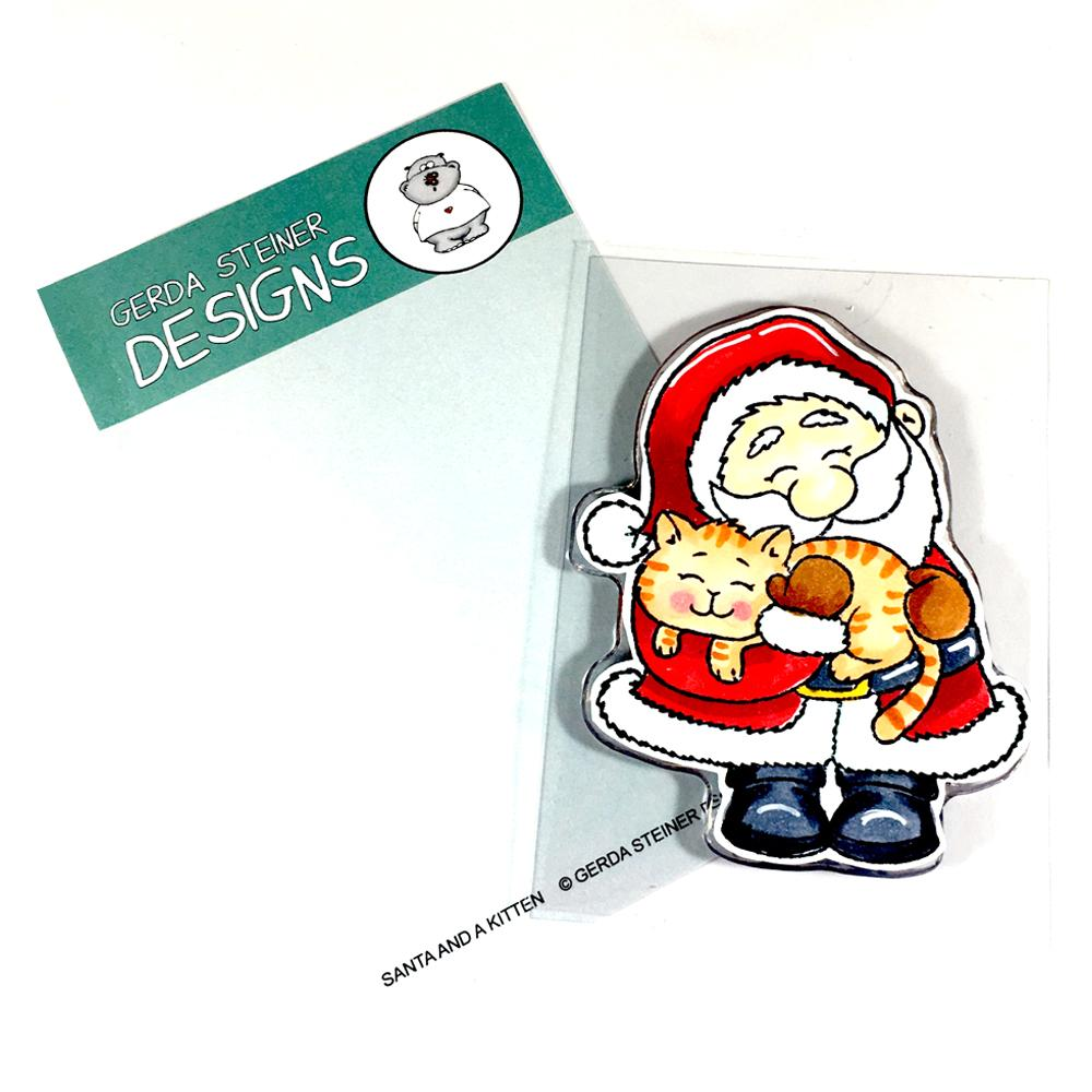 *NEW* - Gerda Steiner - Santa And A Kitten 3x4 Clear Stamp Set