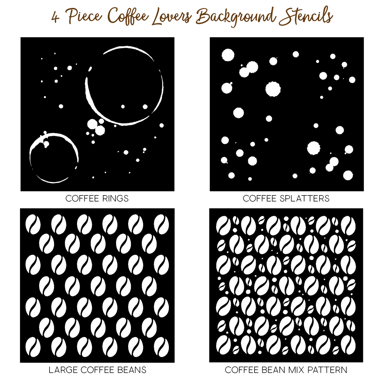 Honeybee Bee Stamps - Coffee Lovers Background Stencils | Set of 4