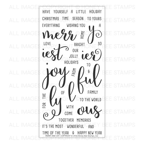 Honey Bee Stamps - Merry and Joy | 4x8 Stamp Set
