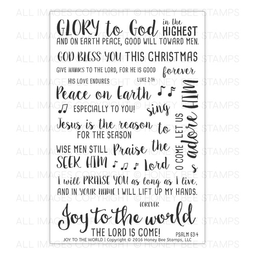 Honey Bee Stamps - Joy To The World | 4x6 Stamp Set