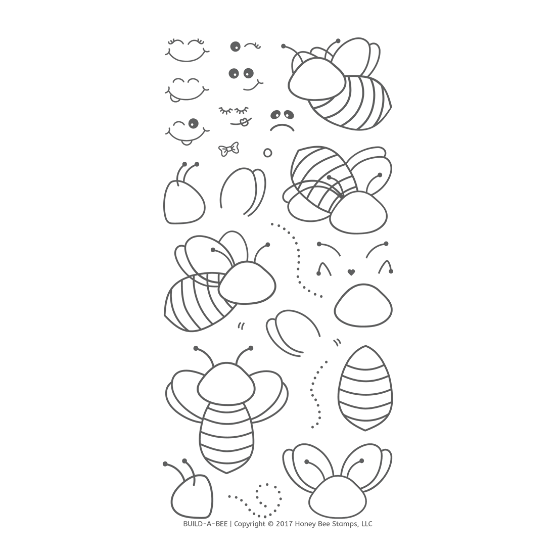 *PRE-ORDER* - Honeybee Bee Stamps - Build-A-Bee | 4x8 Stamp Set
