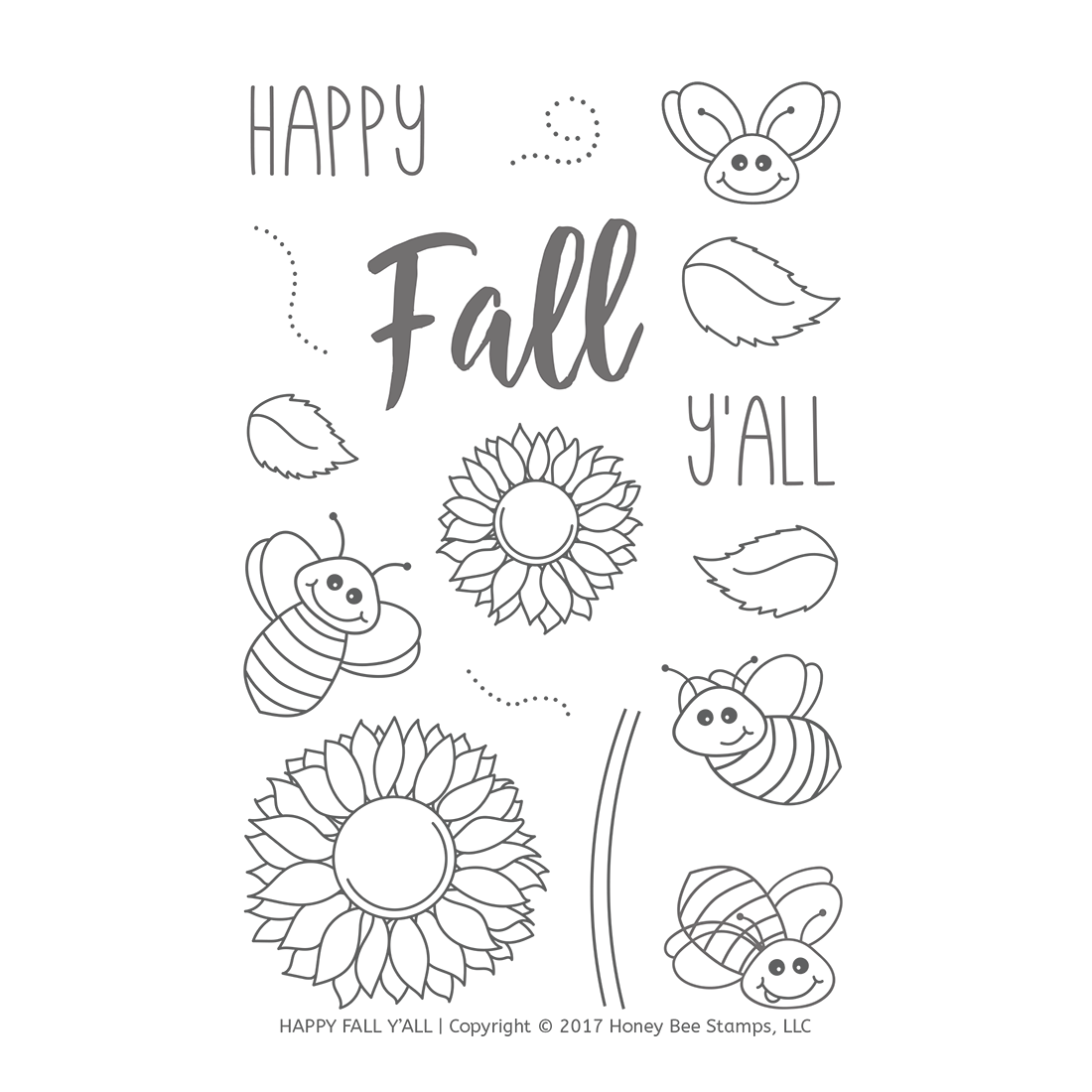 Honeybee Bee Stamps - Happy Fall Y'all | 4x6 Stamp Set