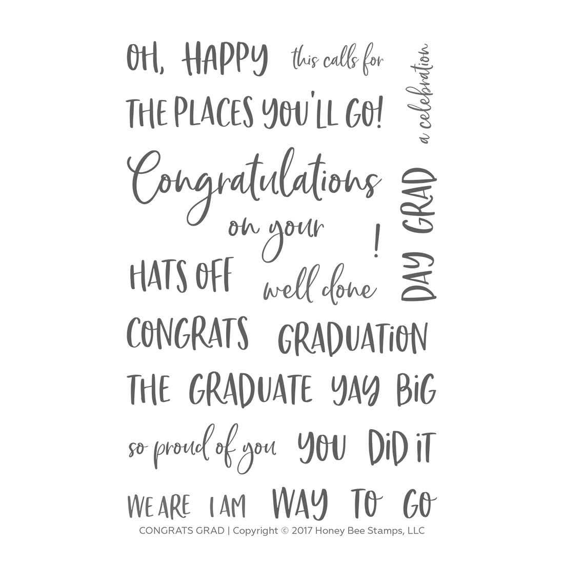 Honeybee Bee Stamps - Congrats Grad | 4x6 Stamp Set