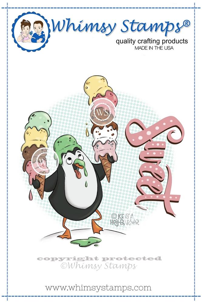 Whimsy Stamps - Ice Cream Penguin