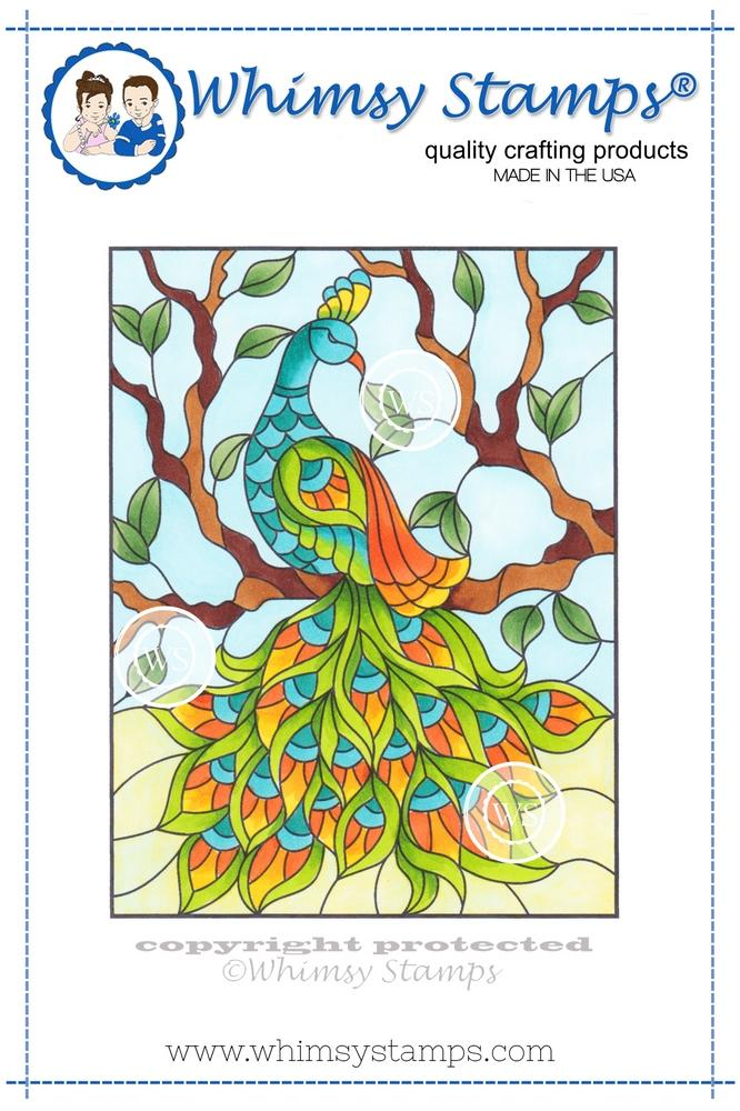 *NEW* - Whimsy Stamps - Stained Glass Peacock