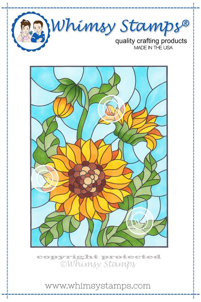 *NEW* - Whimsy Stamps - Stained Glass Sunflower