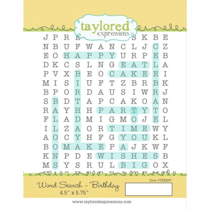 Taylored Expressions- Word Search - Birthday Background