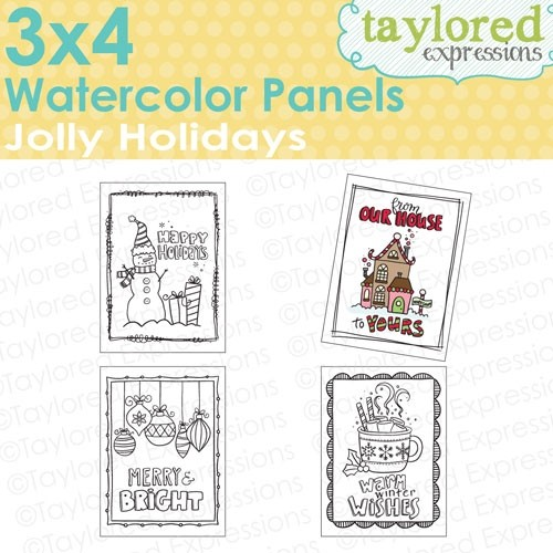 Taylored Expressions - 3x4 Watercolor Panels - Jolly Holidays