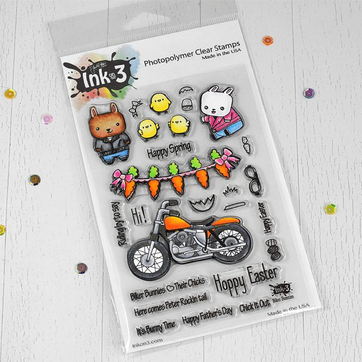 *NEW* - Ink On 3 - Biker Bunnies 4x6 Clear Stamp Set