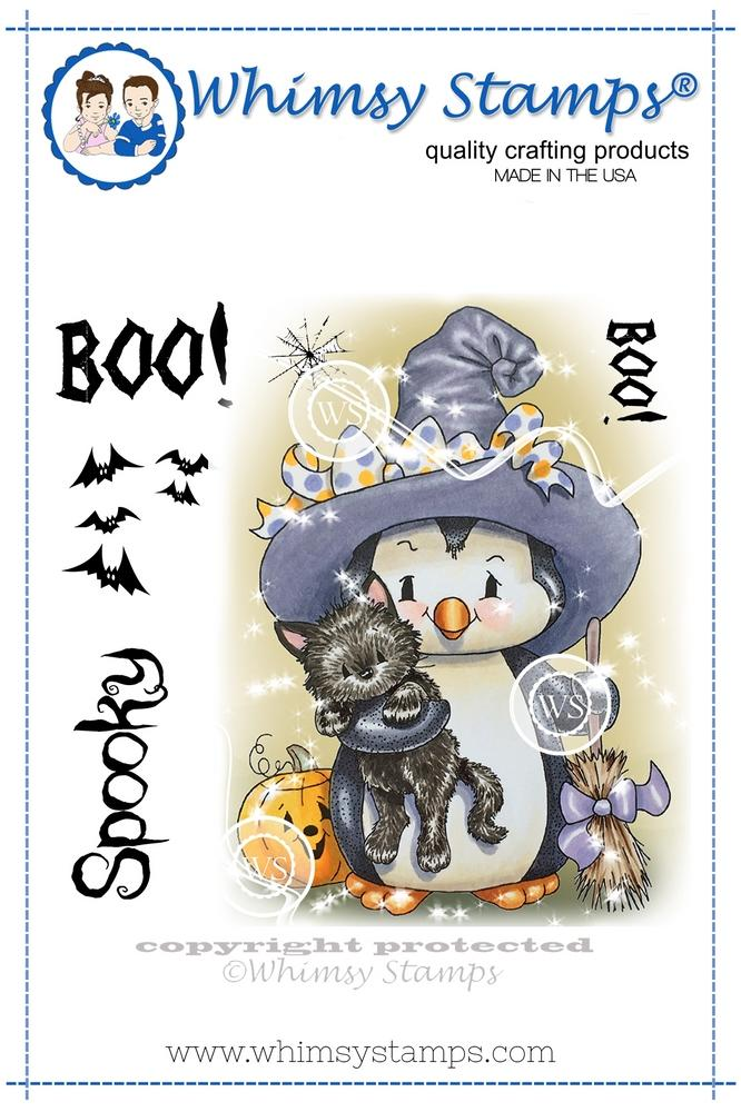 *NEW* - Whimsy Stamps - Penguin Spook Nite Rubber Cling Stamp