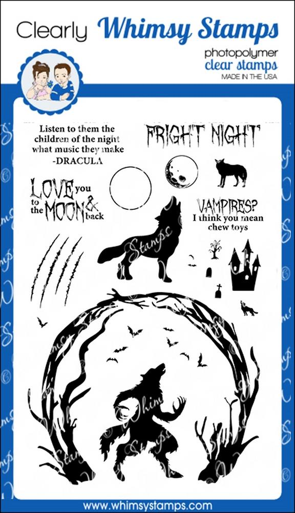 *NEW* - Whimsy Stamps - Howling Night Clear Stamps