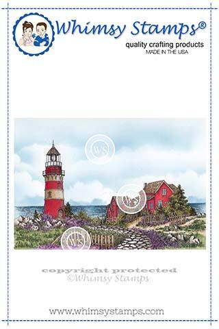 Whimsy Stamps - Beach Lighthouse Rubber Cling Stamp