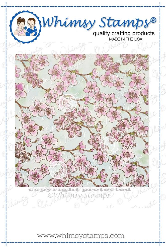 Whimsy Stamps - Cherry Blossom Background Rubber Cling Stamp