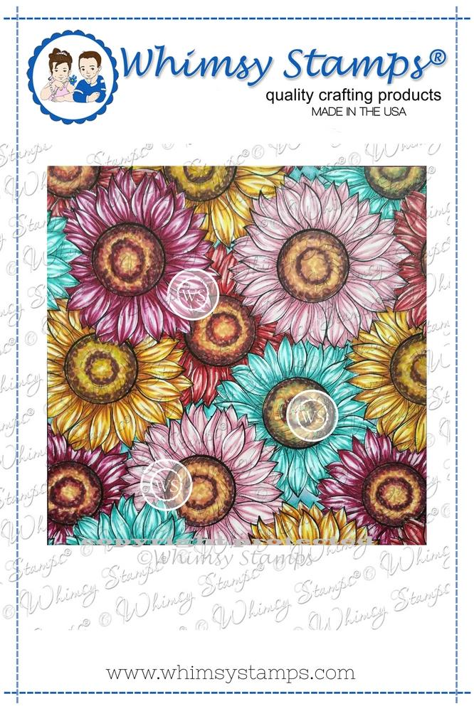 *NEW* - Whimsy Stamps - Delightful Daisies Background Rubber Cling Stamp