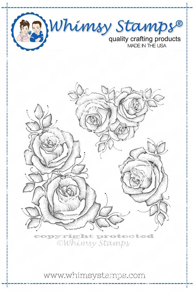 Whimsy Stamps - Winter Roses Background Rubber Cling Stamp