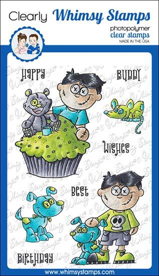 *NEW* - Whimsy Stamps - Goth Doll Boy Clear Stamps
