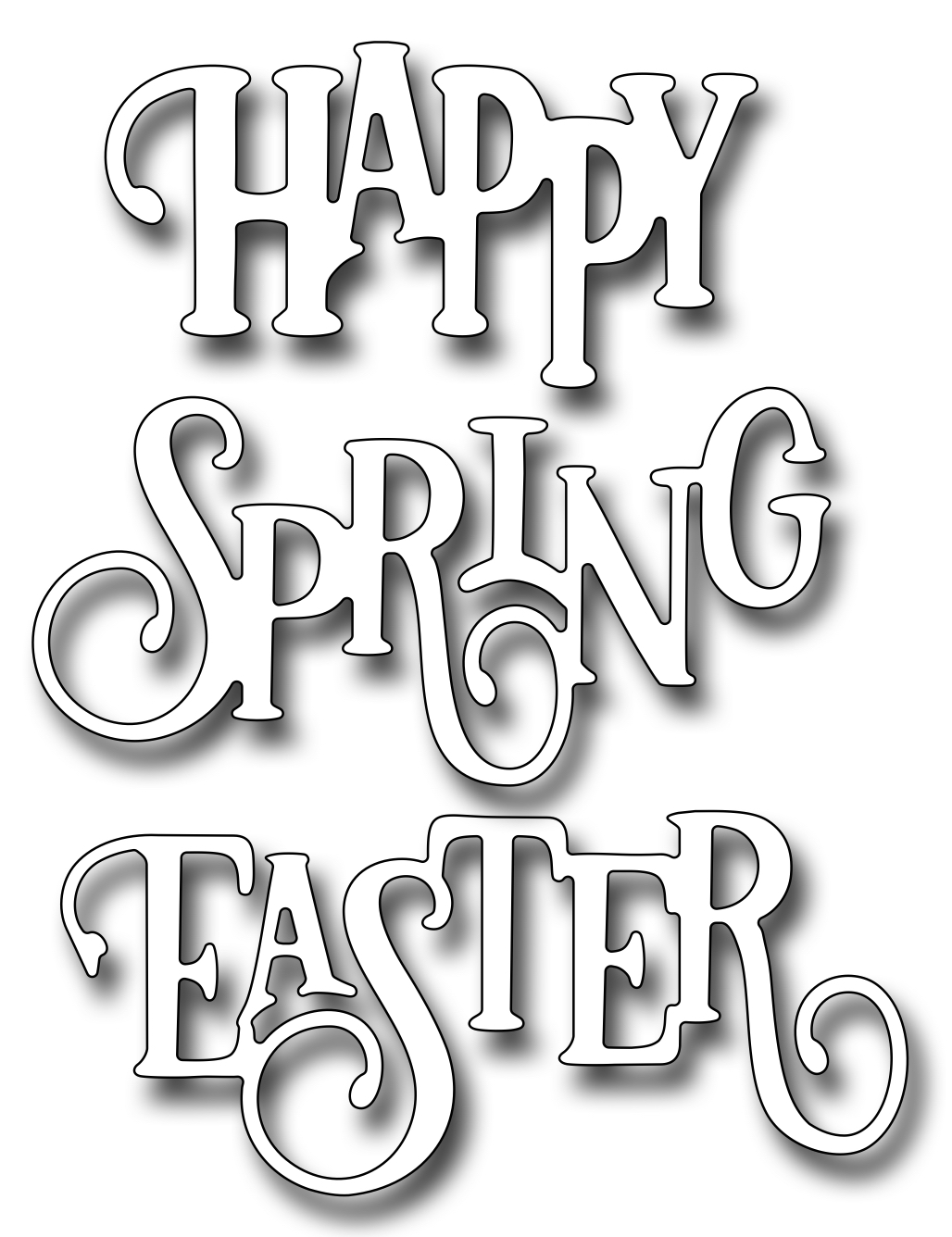 *35* Frantic Stamper Precision Die - Elegant Happy Spring Easter Words