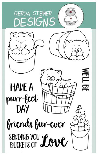 Gerda Steiner - Buckets of Love 4x6 Clear Stamp Set