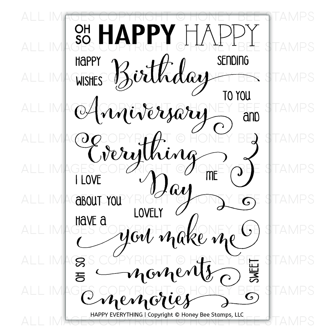Honey Bee Stamps - Happy Everything | 4x6 Stamp Set