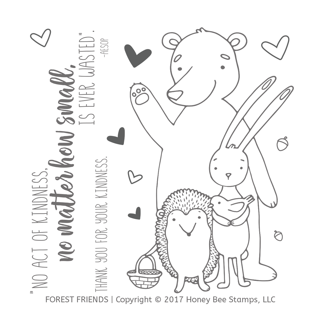 Honeybee Bee Stamps - Forest Friends | 4x4 Stamp Set