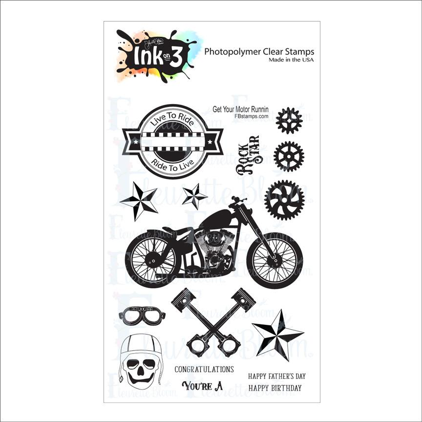 *NEW* - Ink On 3 - Get Your Motor Runnin 4x6 Stamp set