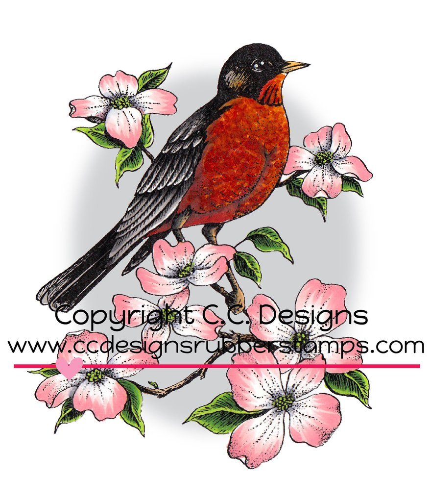 *35* CC Designs - DoveArt Studios Robin On A Branch Rubber Stamp
