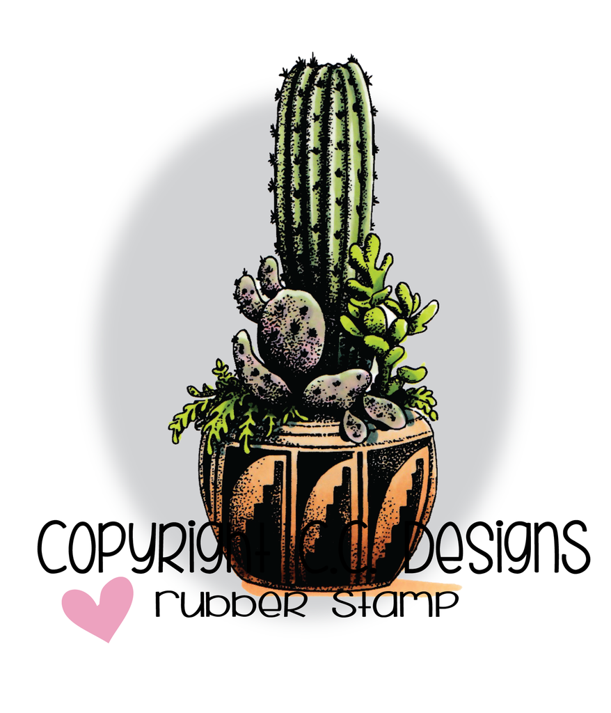 *NEW* - CC Designs - DoveArt Studios Tall Cactus Rubber Stamp