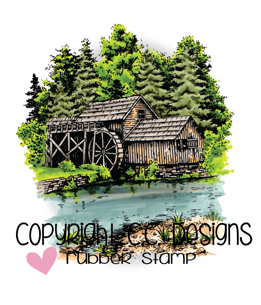 *NEW* - CC Designs - DoveArt Studios Water Mill Rubber Stamp