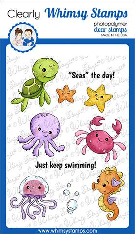 *PRE-ORDER* - Whimsy Stamps - Baby Sea Creatures Clear Stamps