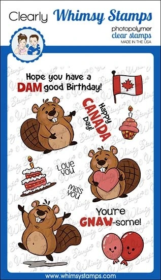 *NEW* - Whimsy Stamps - Beaver Birthday Clear Stamps