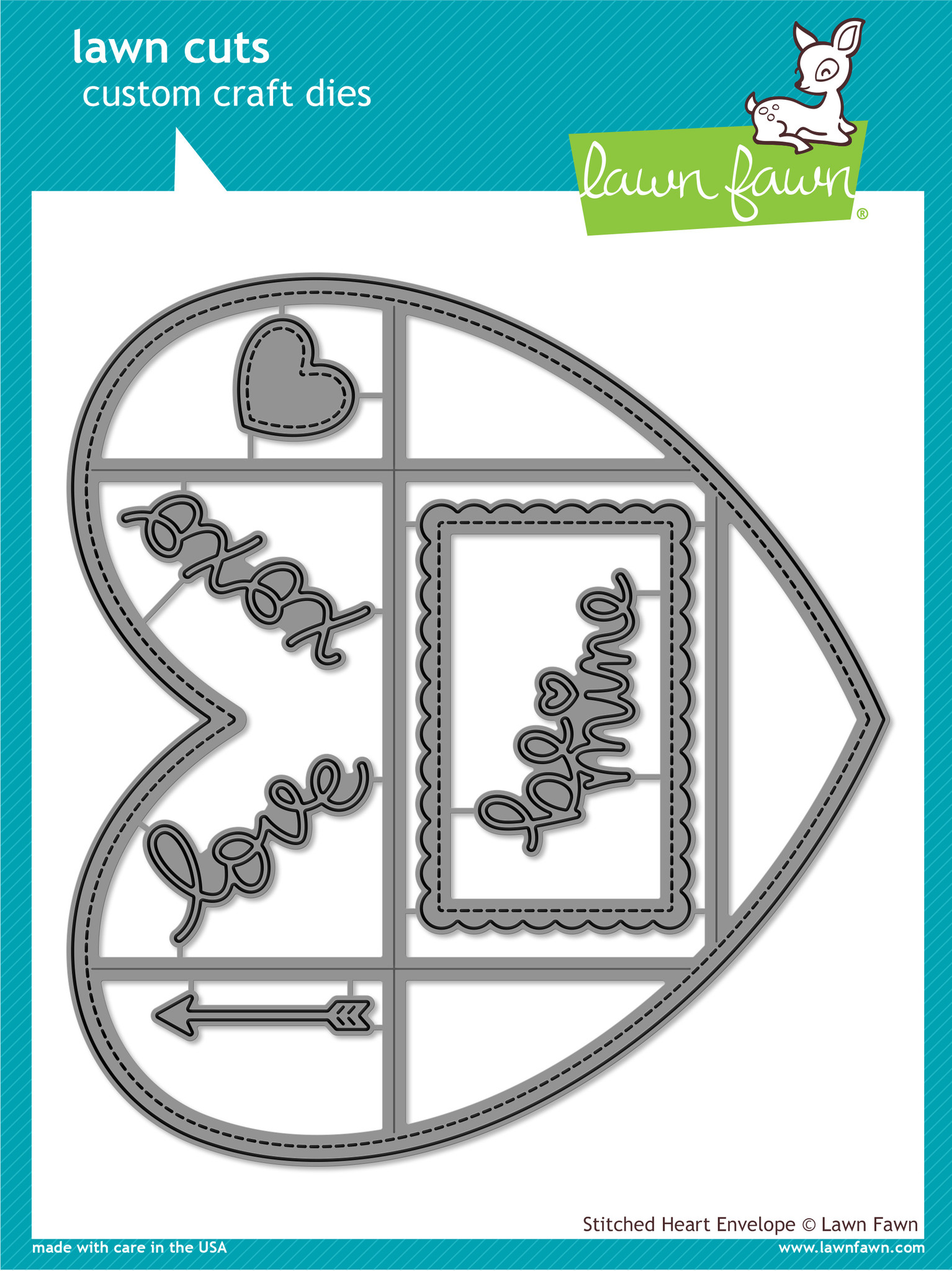JS* Lawn Fawn- Lawn Cuts - Stitched Heart Envelope