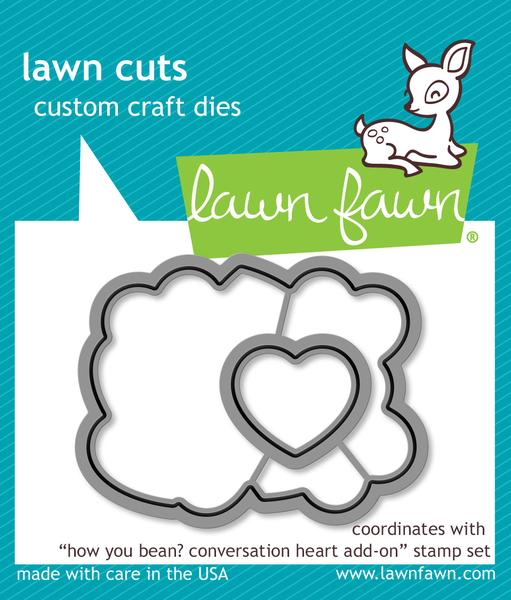 Lawn Fawn - how you bean? conversation heart add-on lawn cuts