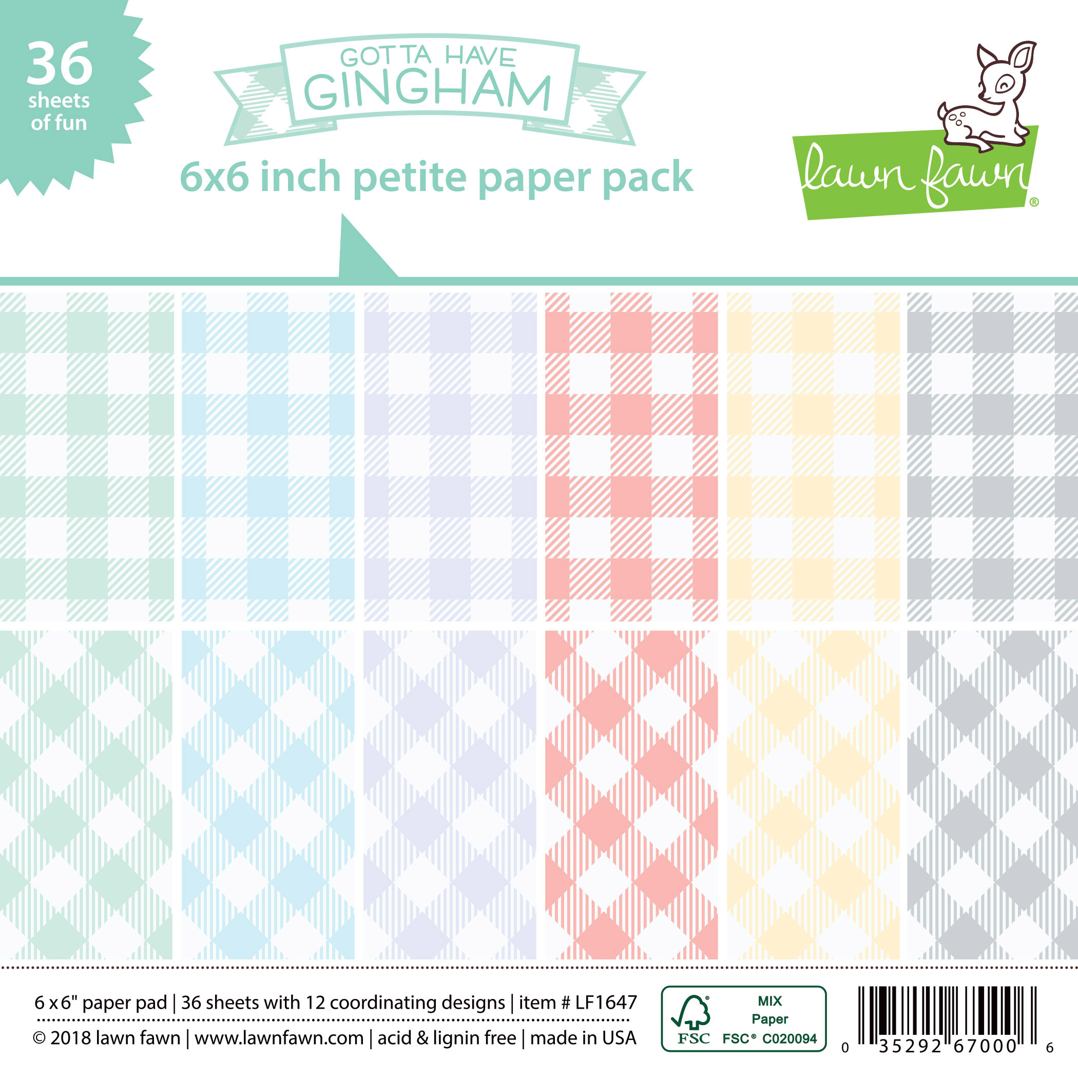 Lawn Fawn - gotta have gingham petite paper pack