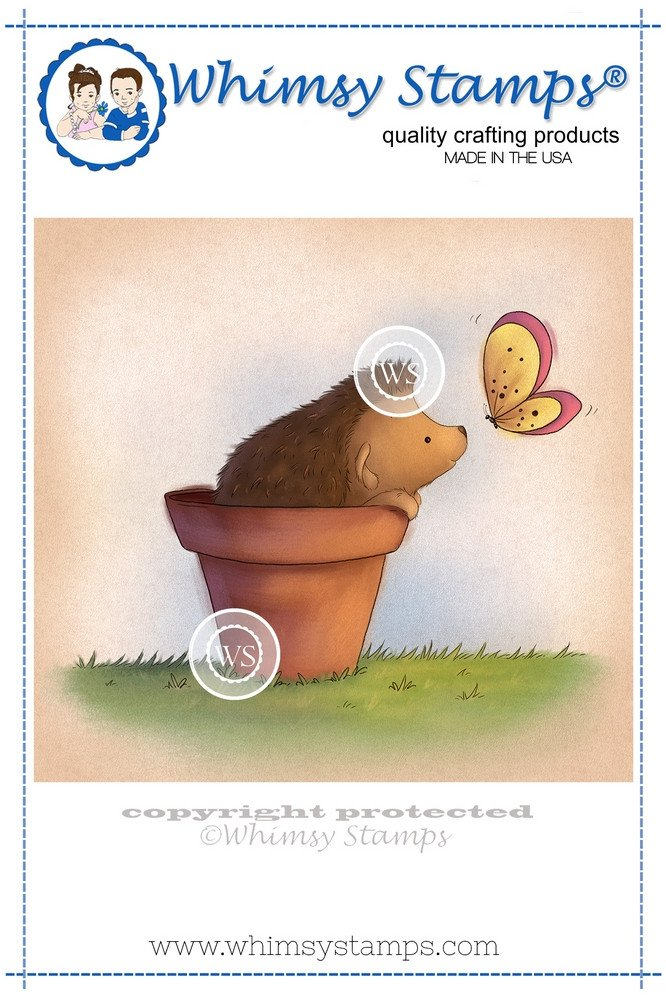 Whimsy Stamps - Hedgehog in Pot - Lee Holland Collection