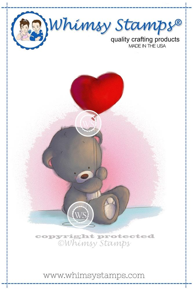 ##Whimsy Stamps - Teddy with Heart Balloon