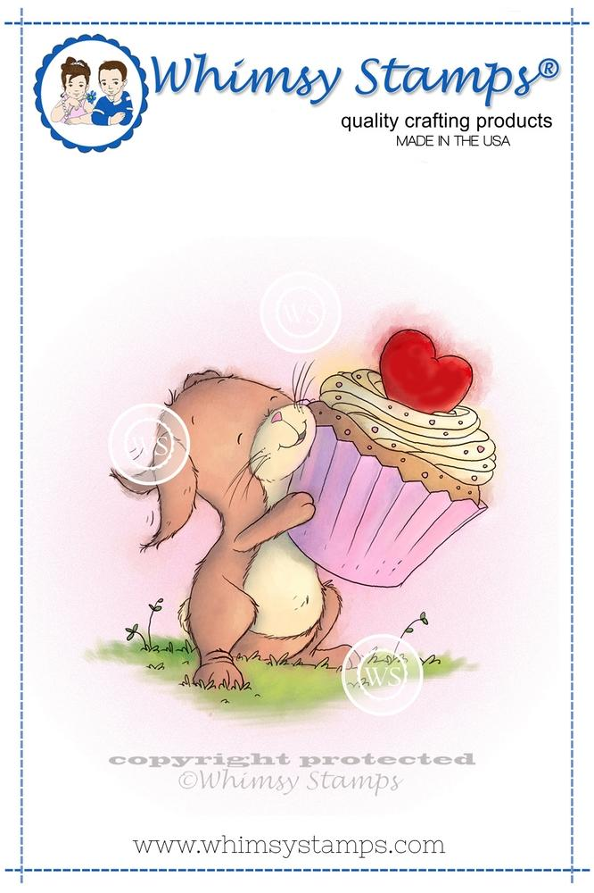 Whimsy Stamps - Bunny with Cupcake