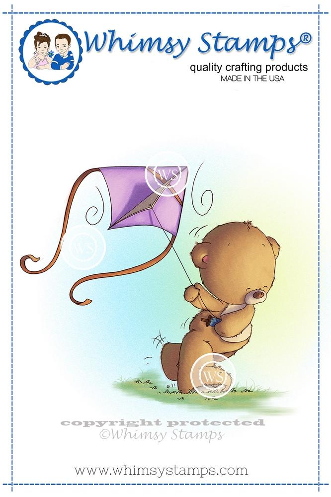 Whimsy Stamps - Teddy Flying a Kite