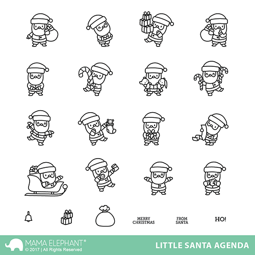 Mama Elephant - LITTLE SANTA AGENDA - Stamp Set