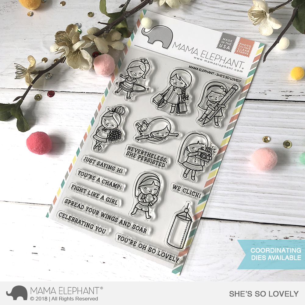 *OFFER OF THE WEEK*  Mama Elephant - SHE'S SO LOVELY Stamp Set PLUS MATCHING DIE