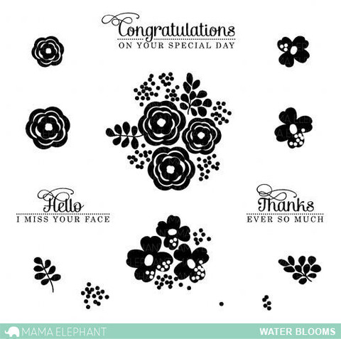Mama Elephant - Water Blooms Stamp set
