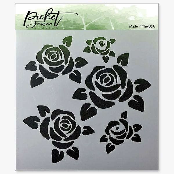 *NEW* - Picket Fence Studios - Roses Stencil