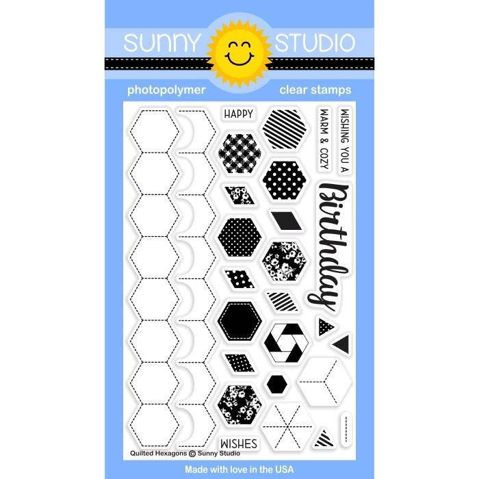 *NEW* - Sunny Studio - Quilted Hexagons Stamps